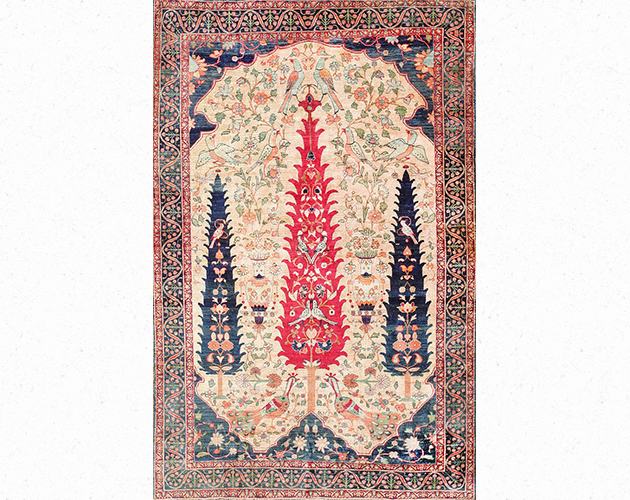 antique-persian-silk-prayer-kerman-rug-47611-detail